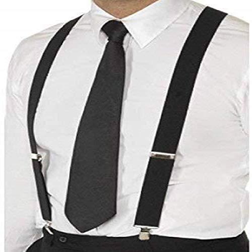 Trimming Shop 25mm Large Unisexe Élastique Jarretelle - Couleur Noir - Uni Bretelles Réglables pour Pantalons, Jeans et Short