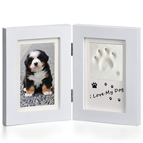 Marco para Foto Blanco, Marco Doble para Foto y Huella de Pie para Perro y Gato, Decoraciones para Mesa con Kit de Impresión de Arcilla - Blanco