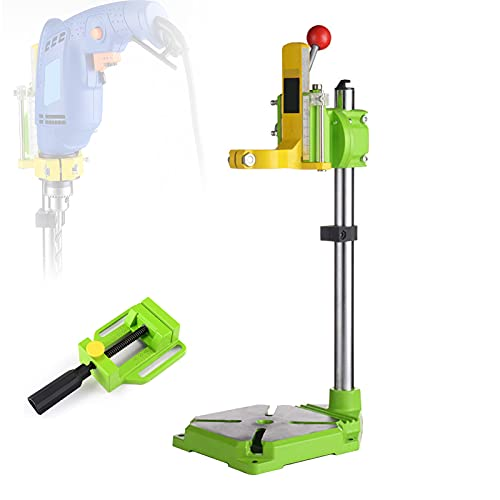 FRIBLSKEL Bench Drill Press Stand, Drill Stand Cast Iron Base 38-42mm Adjustable Clamping, Multifunction Benchtop Drill Press Adjustable Height 90° Rotatable,B