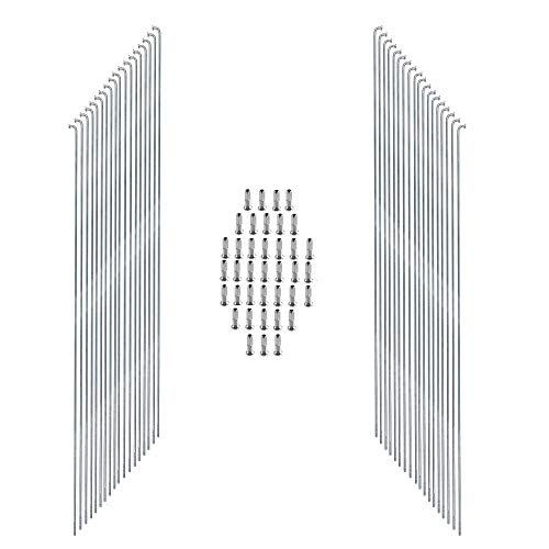 38 STK.Edelstahl Nirosta Speichen 2mm Fahrradspeichen m.Nippel Silber 246-298mm (298 Millimeter)