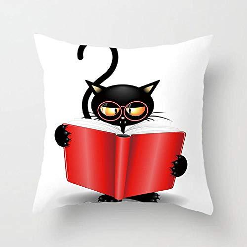 AdoDecor Cojines Halloween Demon Cat Throw Pillow Case Halloween Cat Funda de Almohada Decorativa Halloween 50 × 50cm con núcleo de Almohada