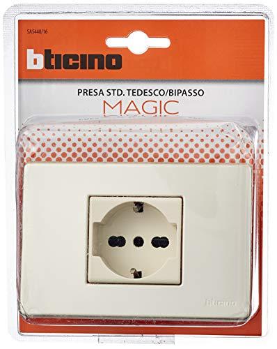 BTICINO Toma Magic Schuko Bipasso Con Placa