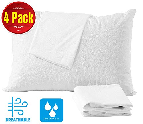 Niagara Sleep Solution 4 Pack Cotton Standard 20x26 Pillow Protectors 100% Waterproof Life Time Replacement Zippered Cotton White Terry Pillow Encasement Washable Long Life Soft 4 Pack Standard