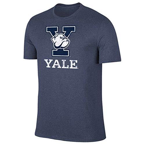 Campus Colors NCAA Adult MVP Heathered Logo Tshirt (Yale Bulldogs - Navy, Large)