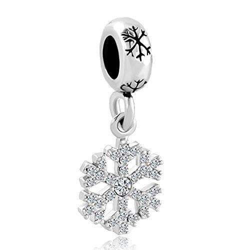 lovelyjewelry copo de nieve con cristales de charms Spacer Bead para pulseras