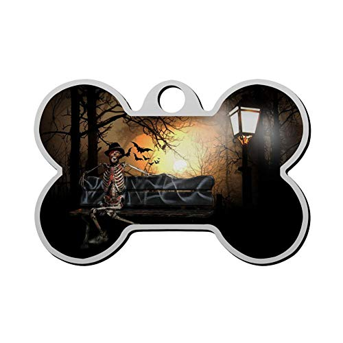 GPZHM Halloween Skeleton Pet Tag - Bone Shaped Dog Tag & Cat Tags Pet ID Tag Personalized Custom Your Pet's Name & Number 3D Printing