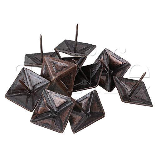 Zent 10Pcs Tapicería Tack Muebles Decorativos para uñas Remache Cuadrado Bronce Rojo
