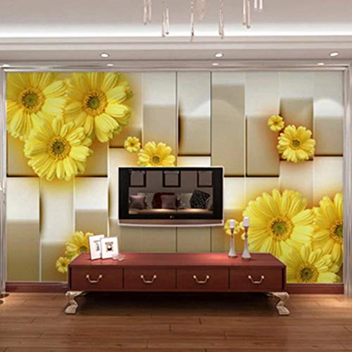 Photo Wallpaper Fashion Yellow Flowers 150X100cm Non-Woven Art Print 3D Wallpaper Mural Photo Kids Bedroom Kitchen Poster Decoration – Mural Consists of 3 Pieces