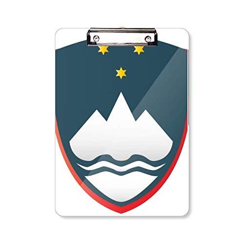 Slovenië nationaal embleem land klembord map schrijven pad achterplaat A4