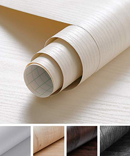 Oxdigi 24' x 196' Cream White Wood Grain Contact Paper Decorative for Shelf Liners Cabinets Shelves Doors Self Adhesive Film Peel & Stick Waterproof Removable Wallpaper