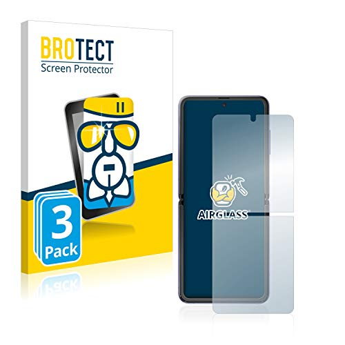 BROTECT Panzerglas Schutzfolie kompatibel mit Samsung Galaxy Z Flip / 5G (3 Stück) - AirGlass, extrem Kratzfest, Anti-Fingerprint, Ultra-transparent