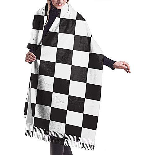 Elaine-Shop Race Waving - Kaschmirschal mit Zielflaggenmuster Lässiger warmer Damenschal mit Wickelschal Groß