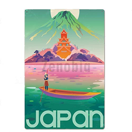ayingzhenxiao Cartel de Chapa de Surf de Playa Retro Club Bar City Art Deco Cartel de Metal 20x30cm YD5197G
