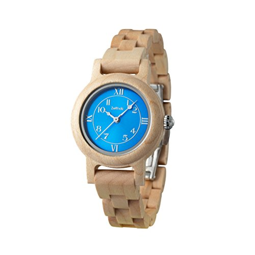 ZEITHOLZ - Damen Holzuhr, Modell Schönheide - Gehäuse und Armband aus Ahornholz natur - Beige und Blau - Leicht, robust und elegant - Verstellbares Armband