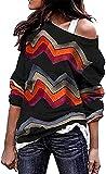 Kneris Mujer Sudadera Manga Larga Casual Cuello Redondo Jersey Suéter (Negro, Large)