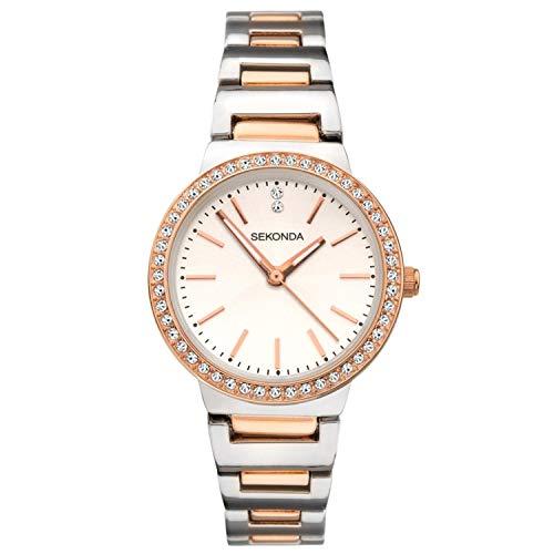 Sekonda Reloj de pulsera de cuarzo con esfera blanca de acero inoxidable para mujer 40078.00