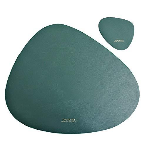 Kitchen-dream Tischsets und untersetzer 2er-Set Dreieckige ovale Leder abwaschbar Tischset Untersetzer hitzebeständig wasserdichte rutschfeste Tischsets und Tassenmatten für Küche Esstisch