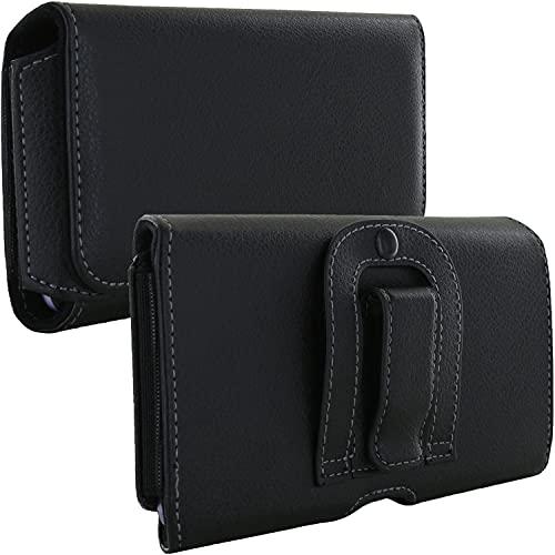El estuche 1.3 con estuche para cinturón de Handy Belt se ajusta a Huawei Honor 7X / 9 Lite / Y7 / Motorola Moto G5s Plus / G6 - Estuche negro para teléfono móvil
