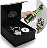 Bottle Opener Wall Mounted with Magnetic Cap Catcher - Stainless Steel -
