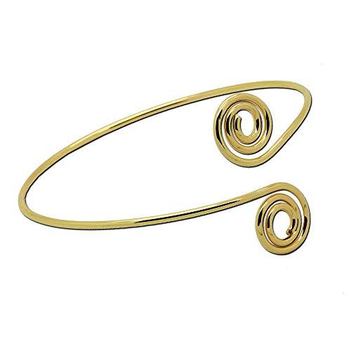 tumundo Armreif Armband Armspange Oberarmreif Arm Spange Zart Armreifen Silbern Golden Bangle Spiralen Damen Accessoires Vintage, Farbe:Modell 1 - golden