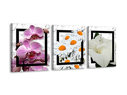 Foto Canvas Cuadros de Flores Modernos   Lienzos Decorativos - Decoración Dormitorios - Cuadros Decoración Salón   Cuadros Tripticos de Flores Modernas 30 x 40 cm x 3 Piezas Listos para Colgar