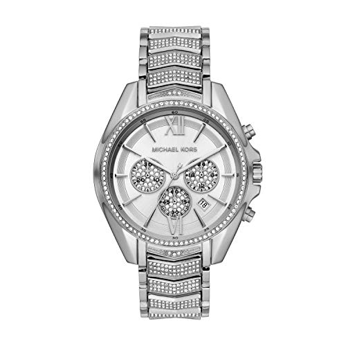 Michael Kors women's Whitney chronograph stainless steel watch Round stainless steel case, with a silver dial 44mm case, 20mm band width, mineral crystal, Quartz movement with analog display, imported Silver, stainless steel bracelet Water resistant ...