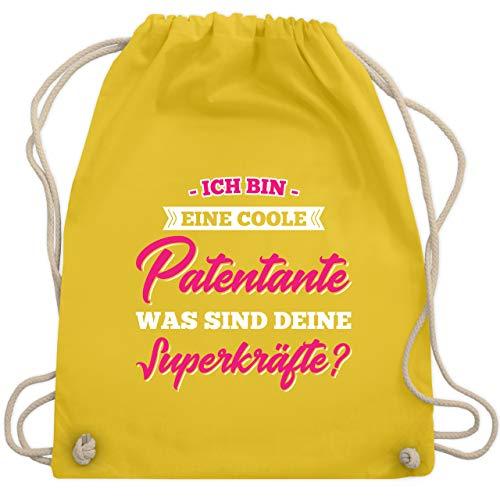 Schwester & Tante - Ich Bin Eine Coole Patentante was Sind Deine Superkräfte - Unisize - Gelb - patentante tasche - WM110 - Turnbeutel und Stoffbeutel aus Baumwolle