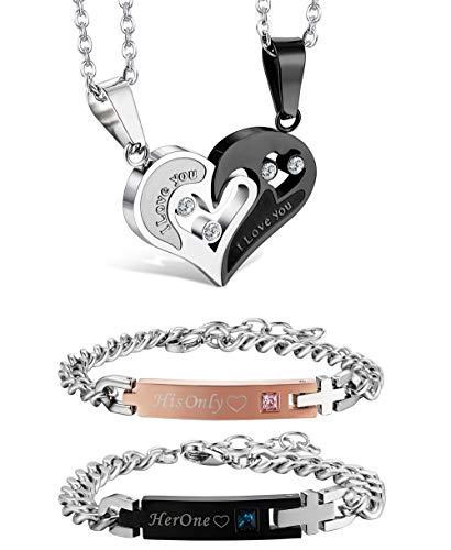 Jstyle 4Pcs Couple Necklace Bracelets Matching Set for Women Men Love Heart Pendant Necklace His & Hers Bracelets Couple Gift