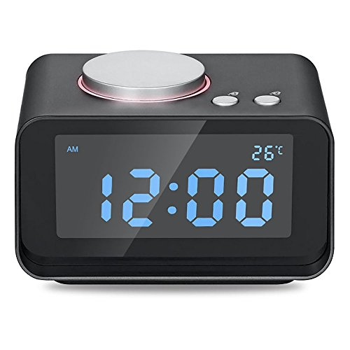 USB Alarm Clock, AKASO Radio Alarm Clock with Snooze Function, 5 Dimmer Brightness, Thermometer, 2 USB Charger Port for iPhone/iPad/iPod/Android and Tablets, Black