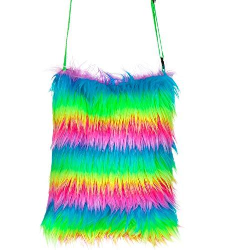 shoperama Neon Kunstfell Tasche bei UV-Licht Leuchtend 70er 80er 90er Jahre Handtasche, Farbe:Multicolor