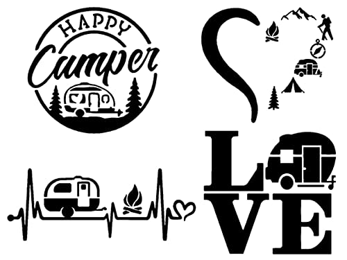 """Camping Decal 4 Pack: Happy Camper, Camping Heartbeat, Heart Camping, Love Camper (Black, Large ~5"""")"""