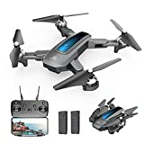 DEERC D10 Foldable Drone with Camera for Adults 720P HD FPV Live Video, Tap Flying, Gesture Selfie, Altitude Hold, Headless Mode, 3D Flips, Quadcopter for Kids Beginners with 2 Batteries 24 mins