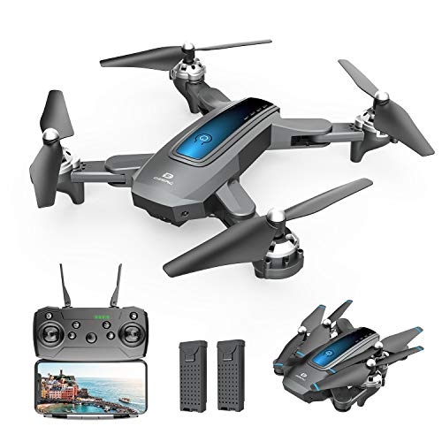 DEERC D10 Foldable Drone with Camera for Adults 720P HD FPV Live Video, Tap Fly, Gesture Control, Selfie, Altitude Hold, Headless Mode, 3D Flips, Quadcopter for Kids Beginners with 2 Batteries 24mins