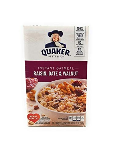 Quaker Instant Oatmeal Raisin Date amp Walnut 10Count Boxes Pack of 4 by Quaker Oatmeal Foods