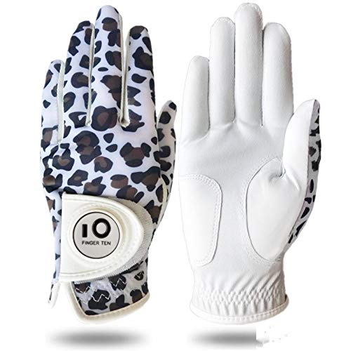 FINGER TEN Golfhandschuh Damen Linke Hand Rechte Mit Ball Marker Allwetter Leder Griff Mode Bedruckter Golf Handschuh Links Rechts Weicher Komfort Passform (L-Links,Leopard)