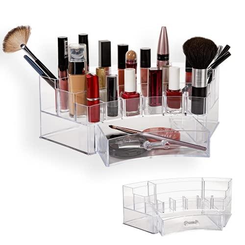 EsdaStore Organizador ovalado con cajones, soporte para maquillaje, joyas, caja de almacenamiento, baño, dormitorio de pintalabios, joyas, esmalte de uñas, tocador, estante de cosméticos