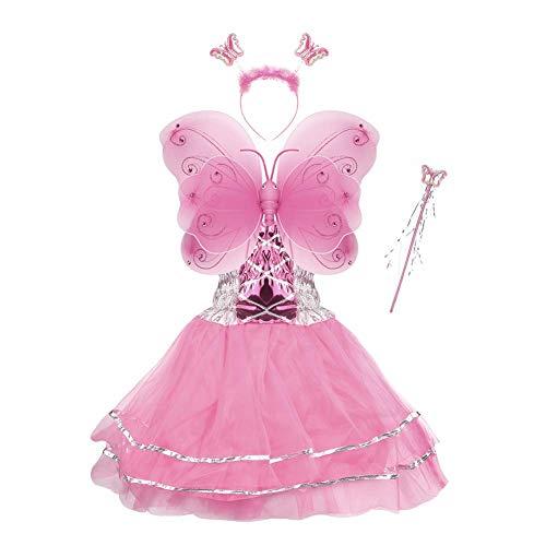 Hada Disfraz - alas de Mariposa niña por 3-8 años - alas de la Mariposa, Tutú, Varita mágica y Diadema establecen (Rosado)