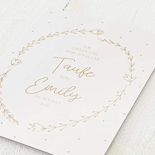sendmoments Taufe Einladungskarten, Blumenranke, 5er Klappkarten-Set C6, personalisiert mit Wunschtext, wahlweise Goldfolien Veredelung & persönliche Bilder, optional Umschläge im gleichen Design