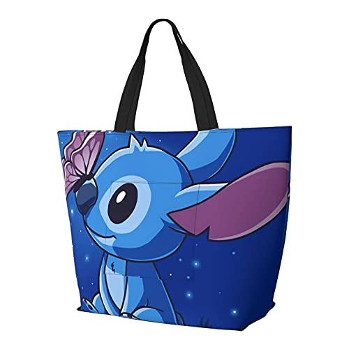 Cartoon Stitch Lilo Multifuncional plegable y reutilizable de gran capacidad con cremallera para las mujeres, bolso de la compra, bolsa de gimnasio, bolsa de viaje, bolsa de ordenador