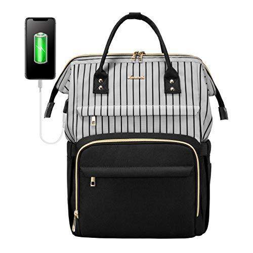 Laptop Backpack for Women Work Laptop Bag Stylish Teacher Backpack Business Computer Bags College Laptop Bookbag, Stripe Black 01