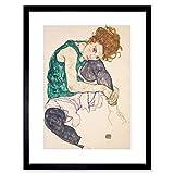 Egon Schiele Seated Woman Legs Drawn UP Adele Herm Framed