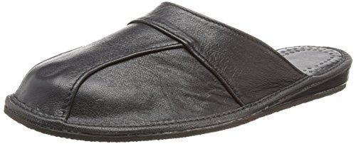 Janex - Zapatillas de Estar por casa de Cuero de Piel para Hombre Negro (42, Negro)
