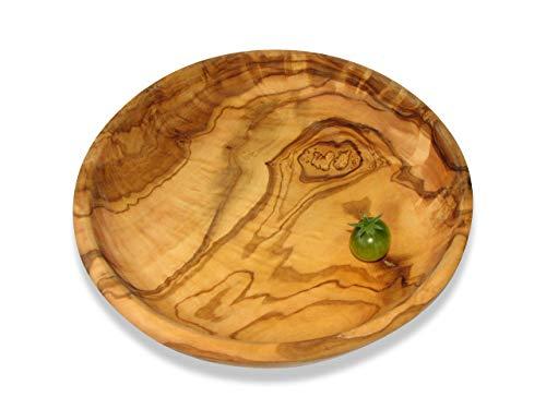 Runde Schale LAMAMMA - Teller aus Olivenholz, Durchmesser ca. 19 cm. Mit sehr schöner Maserung, mit kaltgepresstem Leinöl eingelassen. Jede Schale ist ein Unikat.