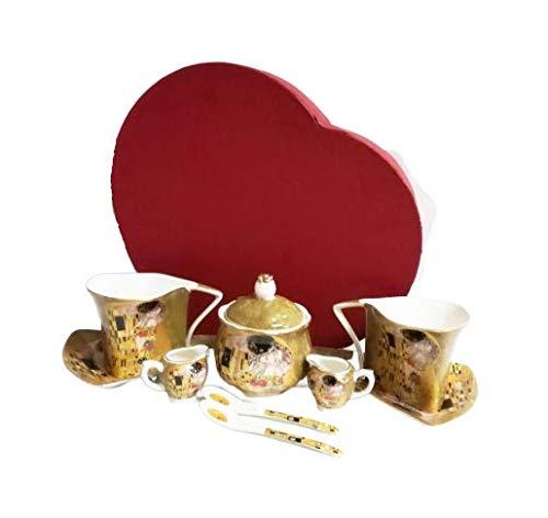 Atelier Harmony Gustav Klimt - Servizio da tè da 9 pezzi, in porcellana, motivo bacio, colore: Beige