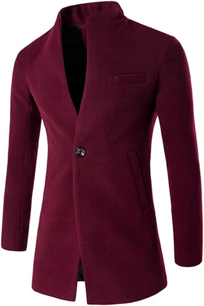 Autumn Winter Men Woolen Coat Wool Blends /Male Business Collar Long