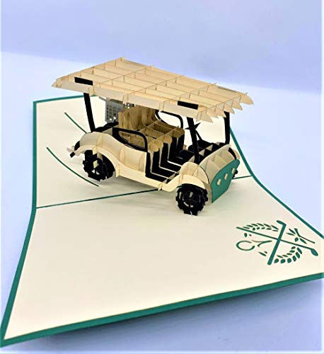 BC Worldwide Ltd handgemachte 3D-Pop-up-Karte Golfwagen Auto Fahrzeug Geburtstag Vatertag Hochzeitstag Valentinstag Outdoor-Sport Übung Country Club