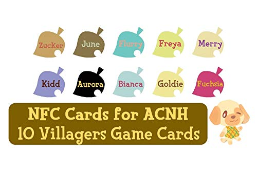 NFC Tag Game Cards for Animal Crossing New Horizons Switch/Switch Lite/Wii U - Zucker, June, Flurry, Freya, Merry, Kidd, Aurora, Bianca, Goldie and Fuchsia