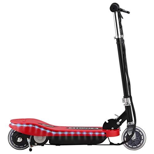 vidaXL Elektroroller mit LED Klappbar Einstellbare Lenkerhöhe Kinderroller Roller Tretroller Scooter Cityroller E-Scooter 120W Rot