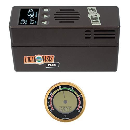 Cigar Oasis Plus 3.0 Electronic Cigar Humidifier with Digital Analog Hygrometer Bundle
