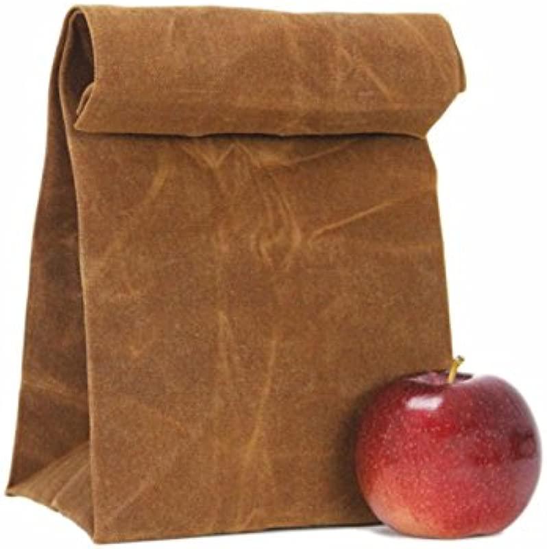 Lunch Bag Natural Waterproof Handmade Reusable Waxed Canvas Unique Lunch Box Picnic Bag School Bag For Men Women Ladies Girls Children Kids Student Pari Creations
